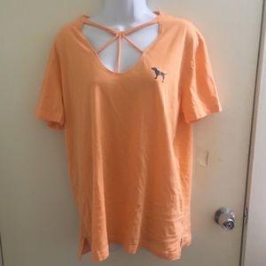 VS PINK orange cutout campus t shirt large